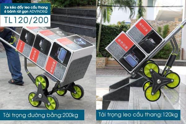 Xe kéo đẩy leo cầu thang 6 bánh rút gọn ADVINDEQ TL-120/200